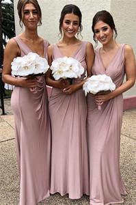 2019 nueva llegada vestidos de dama de honor rosa en v cuello longitud pliegues pliegues dama de vestidos de honor Robes de Demoiselle d'Honneur BM0342