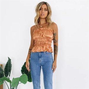 Peplum superior ocasional de la raya vertical del cuello Camis Ropa para Mujer para mujer diseñador de cultivos plisado Camis de la moda Color Natural