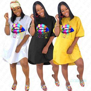 Summer Women T-shirt Dresses Rainbow Lips Print Designer Dress BOHO Ladies Casual Beach Dress Sports Party Sexy Skirts Clothing D5704