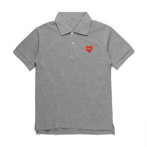 2019 Новая модная мужская дизайнерская футболка COM Серое черное сердце DES GARCONS Черная футболка поло Сделано в Японии Junya Homme Plus