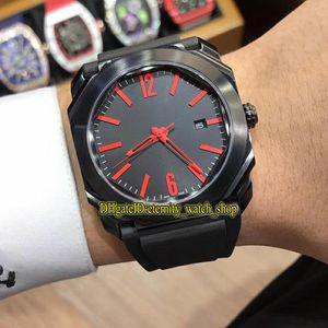 Luxry OCTO Solotempo 102738 Schwarz Datum Dial Rote Zeiger Japan Miyota Automatik-Uhrwerk Herrenuhr schwarz Fall Gummibügel Freizeit Uhren