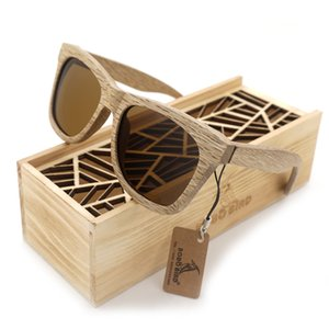 Bobo bird óculos de sol das mulheres dos homens artesanais natureza de madeira polarizada óculos de sol new com caixa de presente de madeira criativo ag007 y19052004