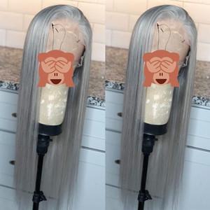 منبت الشعر الطبيعي الشظية رمادي طويل مستقيم الاصطناعية الدانتيل الجبهة الباروكات شعر الطفل 180٪ الكثافة العالية درجة الحرارة الألياف السويسري الرباط الباروكات للنساء