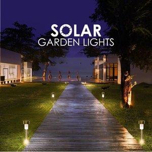 LED güneş çim paslanmaz çelik dekoratif ışıklar açık bahçe lambaları yanar