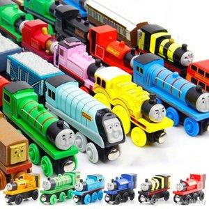 Thomas Cartoon Wood Train Engines Model Toy, мини-размер, 59 стилей, совместимый с железнодорожным путем, для вечеринки Xmas Kid Birthday Gift, орнамент