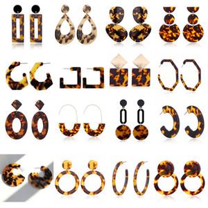 New Designer Tortoise Color Leopard Print Acrylic Acetic Acid Sheet Geometric Circle Square Long Drop Earrings Ear Stud for Women YD0160
