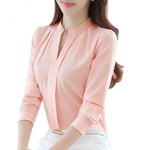 Nueva llegada de las mujeres ocasionales de manga larga blusa de gasa femenina sexy con cuello en v camisa de señora office slim tops