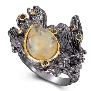 Incroyable design Goldfish Anneau hyperboliques Gun melon noir bijoux eau pierre brune Irrecgular grands anneaux