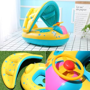 Seguro para bebés Flotador Inflable Bebé Anillo de natación Ruedas inflables para bebés Parasol ajustable Asientos Recién nacidos Piscina Juguetes