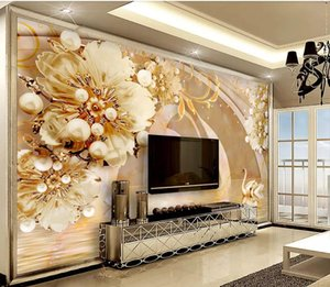 Transparent Floral Swan Lake Jewelry Background Wall modern wallpaper for living room