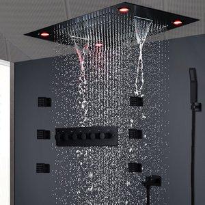 현대 매트 블랙 샤워 세트 은폐 천장 마사지 큰 비 폭포 샤워 패널 헤드 온도 조절 높은 흐름 샤워