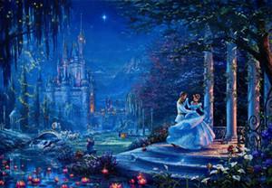 Thomas Kinkade Cenerentola Dancing in the Oil Stampa Starlight decorazione domestica dipinta a mano HD Pittura su tela di canapa di arte della parete della tela di canapa Immagini 200121
