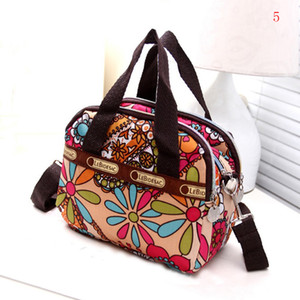 delle donne stampata floreale borse vintage di nylon impermeabile Colored Satchel Shoulder Bag Zipper Tote Crossbody Messenger Bags Purse