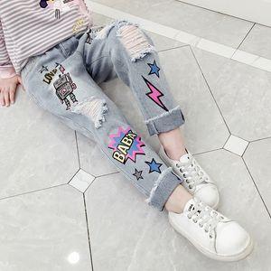 2VLpu 2020 usure automne fille trou perçant dessin animé lâche et jeans pantalon et un pantalon jean imprimé pantalon denim usure par Fashio sport