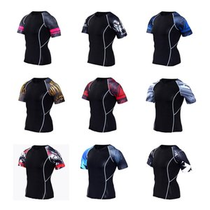 New Sport Shirt Hommes Quick Dry Runig hommes Thirs Jes Fitnes Wea gymnase clotes Sake Gym Vêtements Fitnes Top Mens Rashgard Soccer Jersey