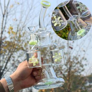 9,4 pouces en verre unique Bong Double recycleur Dab Rigs Perc Percolateur Heady verre Pipes eau verte Violet Bleu huile Rig hélice 1