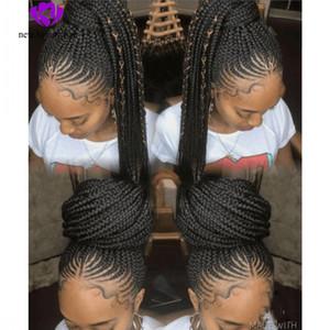 Natural handtied cornrow tranças peruca preta penteado tranças caixa peruca sintética rendas frente perucas para mulheres negras micro tranças com cabelo do bebê