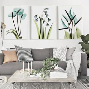 Poster Sanat Duvar Resmi Ev Yatak Odası Dekor Boyama Zarif Şiir Modern Minimalist Mavi Şeffaf Çiçekler Kanvas