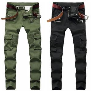 Erkek Sıkıntılı Skinny Jeans Moda Tasarımcısı Erkekler Jeans İnce Motosiklet Moto Biker Nedensel Erkek Denim Pantolon Kalça Hop Erkekler Jeans Ripped