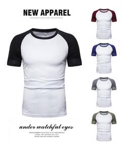 Color Short Sleeve Tees Crew Neck Natural Color Casual Tshirts Fashion Mens Summer Tshirts Designer Panelled