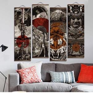 단단한 나무가 스크롤을 매달려 벽 아트 페인팅 거실 장식을위한 HD 캔버스 포스터 벽 그림 일본 우키요에
