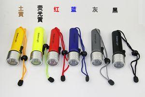 818 Fener Dalış 1 Modu Için 120 Lümen CREE Q5 LED sualtı Torch Ile Sarı Siyah Kırmızı Mavi