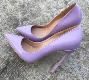 Nueva primavera otoño moda Light Purple zapatos de tacón alto de charol brillante de cuero fino del talón zapatos de mujer en punta zapatos de vestir sexy tamaño 33-44