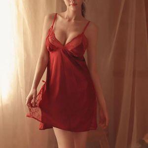 Satin Lace Sleep Wears Sexy Linger Women Deep V neck Sleepduress Sexy Nightgeless Rup Satin Nightdress Home W