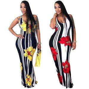 Stripe Stripe Dress Deep V Neck Women Long Skirt Open Back Hip Longuette Cross Sling Slim Fit Red Yellow Loose Breathable 29sn C1
