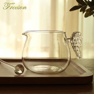 Hübscher Engel Flügel Glass Creamer Cup 430ml kreative Milchkrug Saft Tee Kaffeetasse Klare Glasbecher Milchaufschäumer Cafe Pitcher