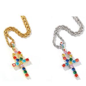 Il bling monili della collana di colori KING Ankh ciondolo Croce colorati Iced Cubic Zirconia Pietre Oro Argento colorato Moda Hiphop