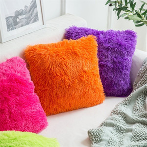 Curto Plush Início Pillowcase Faux Fur velo Praça Sólidos Car Cor Capa de Almofada Decortaive Sofá Throw Pillow Case New Arrival 3 8RT E19