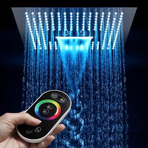 샤워 팔 욕실 더 많은 색상 LED 샤워기 안개 폭포없이 16 인치 40cm 원격 제어 구름 주도 샤워 헤드