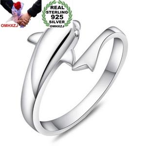 OMHXZJ Atacado Moda Coringa Simples Golfinho Amantes Casal 925 Sterling Silver aberto ajustar o sexo feminino para a Mulher Homem Presente Anel RG17