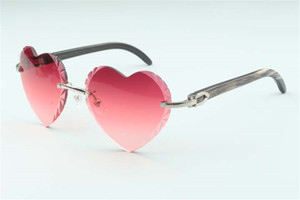 Direct sales new heart shaped cutting lens sunglasses 8300687, natural black textured buffalo horn temples size: 58-18-140 mm