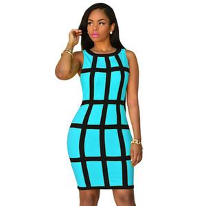 Новая мода в полоску женские платья шею без рукавов узкое сексуальное платье Ladies Club Bodycon платья повседневные платья в клетку