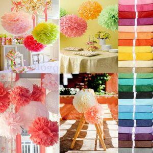 NOVO Projeto 40Pcs 20cm (8quot;) Pom Pom Papel Tissue Decoração Pom Poms flor artificial Balls Wedding Balls papel partido Deco