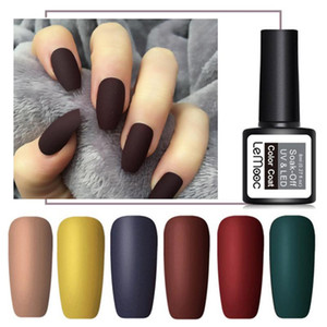 LEMOOC 8ml Nail Art Gel UV Matte Top Coat ongles semi permanent Soak Off vernis à ongles Gel Polish Art Gel Peinture Vernis à ongles 10pcs / Lot