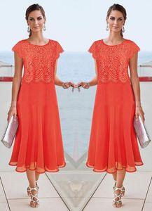 Gelin gelinlik Beach Düğün Dantel Aplike Anneler Örgün Wear Abiye Giyim Of 2020 Plus Size Çay Boyu Anne