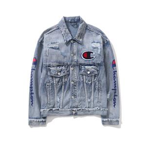 Champions Mens Jackets Men Motor Style Vintage 3d Print Letter Embroidered Coat Denim Pocket Hole Long Sleeve Jacket Blue M-2XL