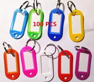 100pcs Fahsion cristallo plastica chiave ID etichetta tag carta split anello portachiavi portachiavi nuovo arrivo assortiti rosso rosa verde blu giallo