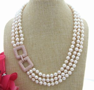 "FC042914 20 ""3Strands 8mm White Pearl Necklace"