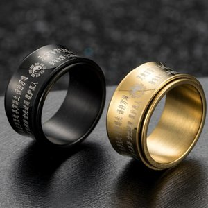 Tai Chi Arc Art Rotating Taoism Ring Spinner Box Men Taoist Mantra Ringen Amulet Black Gold Rings Wedding Mens Stainless Steel