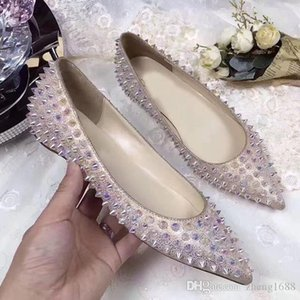 2020 new Comfortable Ladies Red Bottom Shoes Women Point-toe Sandals Flats,Fashion High Quality Party Dress Wedding Ballet Flat