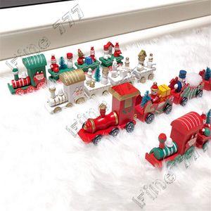 لعب للأطفال عيد الميلاد قطار خشبي للأطفال هدايا عيد الميلاد ثلج سانتا كلوز شجرة 4 قطاعات قطار نموذج مبتكرة اللعب