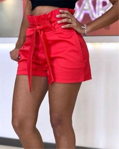 Calças mulheres favoritos mediana cintura Shorts Calças Ladies Relaexed Cacual curtas Sashes bolso Verão calças largas Legged