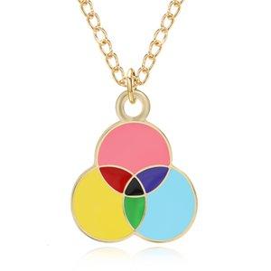 Encantador dos desenhos animados de três rounds Esmalte encantos coloridos pingentes colar balão do arco-íris para mulheres ouro enforcador Collares Jóias