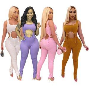 Yaz Kadın seksi düz renk düz Tulumlar moda kolsuz gündelik moda sıska bandaj Bodysuits yakın kulüpleri 3124 DHL giymek overalls