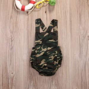 Pudcoco 2019 Summer Unisex Baby Girl Boy Camo Bodysuit Sleeveless Jumpsuit Backless Clothes Outfits Cute Camouflage Clothing SS