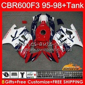+ Réservoir pour HONDA CBR 600F3 600CC blanc chaud rouge CBR 600 FS CBR600FS 41HC.144 CBR600 F3 CBR600F3 1995 1996 1997 1998 F3 95 96 97 98 Kit de Carénage